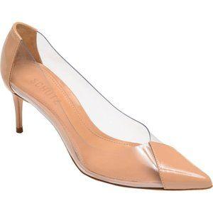 NWT Schutz Garthy Clear Vinyl Nude Leather Heels